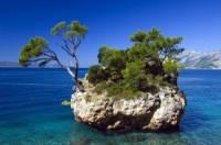 Ostrůvek s borovicemi na obrázku je symbolem letoviska: (náhled)