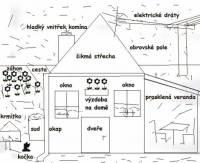 Označ věci, kterými lidé, kteří stavěli dům a měnili jeho okolí, ohrozili životy různých ptáků. Podívejte se pozorně na obrázek. Může vám hodně pomoc! (náhled)
