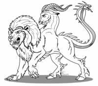 Postava starověké řecké mytologie, jejíž tělo bylo vpředu lví, uprostřed kozí a zezadu hadí/dračí, byla nazývána...? (náhled)