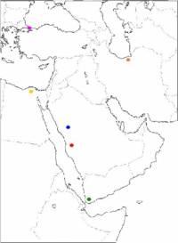 Pozorně si prohlédněte tuto mapu. Který z bodů na mapě značí Mekku a který Medínu? (náhled)