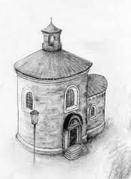 Malý kruhový kostelík na obrázku je: