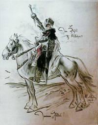 Jan Žižka je vyobrazován se zbraní v ruce: (náhled)