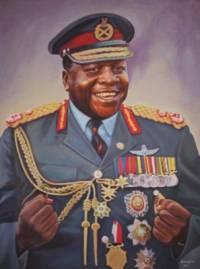 """Který diktátor, který má na svědomí statisíce životů Uganďanů se nechával titulovat jako: """"Jeho veličenstvo doživotní prezident, polní maršál Al Hadži doktor ************, pán všeho tvorstva na souši i ve vodě, přemožitel Britského impéria v Africe obecně a v Ugandě konkrétně""""?  Nicméně trefnější je jeho přezdívka řezník z Kampaly. (náhled)"""