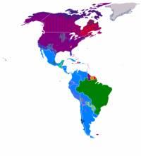 Rozšíření kterého jazyka je znázorněno na obrázku tmavě fialovou barvou? (náhled)