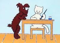 """Obrázek č.9, který je jednou z ilustrací ke knížce pro děti """"Povídání o pejskovi a kočičce"""" namaloval(a) malíř(ka): (náhled)"""