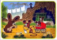 """Obrázek č.1, který je jednou z ilustrací k pohádkové knížce """"O zajíčkovi"""", namaloval malíř: (náhled)"""