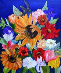 """Obraz č.6 """"Květinový košík"""" namaloval(a) malíř(ka): (náhled)"""