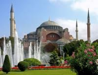 Která stavba, patřící k nejvýznamnější stavbám byzantské architektury, je na obrázku č.1? (náhled)