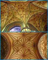 K nejvýznamnějším znakům gotické architektury patřila klenba. V průběhu staletí se klenba zdokonalovala a bylo vytvořeno několik typů klenby. Které 2 typy gotické klenby jsou na obrázku č.4? (náhled)