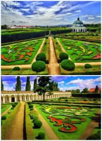 Součástí barokní architektury se vedle okázalých chrámů a šlechtických paláců stala i zahradní architektura. V zahradách, které navazovaly na zámky nebo je obklopovaly, byly symetricky vysázeny barevné květinové záhony, které tvořily ornamenty. V zahradách byly často vystavěny fontány, kašny i  menší venkovní stavby, které tvořily přechod mezi palácem a zahradou nebo sloužily pro pobavení panstva. Jaká zahrada, která je ukázkou typické barokní zahradní architektury, je na obrázku č.1? (náhled)