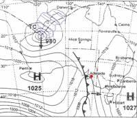 Jaké počasí lze očekávat v A) Adelaide? A jaké v modré oblasti B)? (náhled)