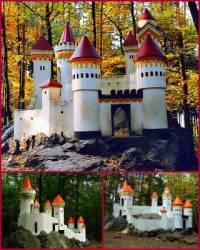Mezi menší oblíbené stavby patřily i romantické miniatury středověkých hradů. Jednou z nich je miniatura středověkého hradu na fotografii č.25. Jak se jmenuje? (náhled)