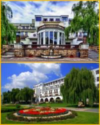 """Funkcionalistická budova """"Masarykův dům"""" na fotografii č.11, je největším lázeňským domem v lázních: (náhled)"""