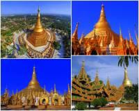 Jak se jmenuje jedna z nejznámějších a nejkrásnějších pagod na fotografii č.13, která je 105 metrů vysoká, celá je pokryta pravým zlatem a na vrcholu ozdobena 6000 diamanty a drahokamy. Je tak nejen architektonickým skvostem, ale i skutečným klenotem. (náhled)