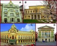 Označte pražské památky na obrázku č.2, které byly postaveny v období SECESE: (náhled)
