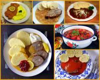 Věhlasná a mezi zahraničními turisty oblíbená je i česká kuchyně. Z nabídky jídel na fotografii č.5 vyberte a označte jídla, která se turistům předkládají jako typicky česká: (náhled)