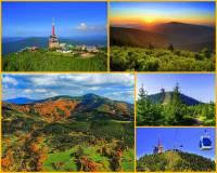 Jak se jmenuje hora na obrázku č.10? S nadmořskou výškou 1323 m je nejvyšší horou pohoří rozkládajícího se na státní hranici. V letech 1939 – 1945 byla nejvyšším bodem Protektorátu Čechy a Morava. Dominantu hory tvoří 78 m vysoký telekomunikační vysílač. Na hoře, která je jedním z nejchladnějších, nejdeštivějších a největrnějších míst v ČR, je i meteorologická stanice. Hora je bohatá i na sníh. (náhled)