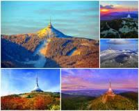 Jak se jmenuje hora na obrázku č.1, která je jednou z nejznámějších hor v ČR? Její nadmořská výška je 1012 m a na jejím vrcholu byl v 70. letech 20. století vybudován televizní vysílač, restaurace a hotel v jedné stavbě, která byla v r. 2006 vyhlášena za národní kulturní památku a stala se Stavbou 20. století. (náhled)