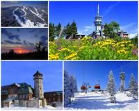 Hora na fotografii č.3, která je s nadmořskou výškou 1244 m nejvyšší horou pohoří ležícím na státní hranici, je oblíbeným lyžařským střediskem. Z nedalekého lázeňského města vede k vrcholu hory i lanovka. Jak se hora jmenuje? (náhled)