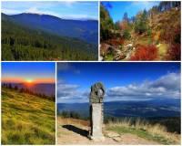 """Jak se jmenuje hora na obrázku č.6? S nadmořskou výškou 1424 m je nejvyšší horou pohoří, které se rozkládá na státní hranici a je 3. nejvyšším pohořím ČR. Na jižním svahu hory pramení jedna z významných řek ČR. Pohoří, ve kterém hora leží se v souvislosti s hlavním evropským rozvodím říká """"Střecha Evropy"""". (náhled)"""