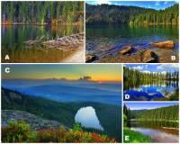 Rozsáhlé pohoří Šumava tvořící státní hranici mezi Českou republikou a Německem a ČR a Rakouskem je známo i výskytem ledovcových jezer – a to jak na území Česka, tak i na území Německa. Na českém území je celkem 5 ledovcových jezer, které jsou na fotografii č.12. Které šumavské ledovcové jezero je označeno písmenem C? (náhled)