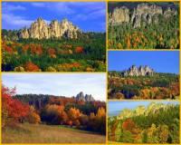 """Jak se jmenují skály na obrázku č.9, kterým se říká """"české Dolomity"""" a jsou součástí přírodního parku na fotografii č.8? (náhled)"""