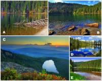 Na fotografii č.18 je 5 ledovcových jezer, která patří k přírodním unikátům Národního parku Šumava. Které ze šumavských ledovcových jezer na fotografii č.18 je největší? Kterým písmenem je největší šumavské jezero označeno? (náhled)