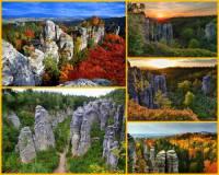 Jak se jmenuje pískovcová skalní oblast a přírodní rezervace se skalními městy na fotografii č.2, která je součástí chráněné krajinné oblasti? (náhled)