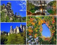 Významnou chráněnou krajinnou oblastí je i Broumovsko s rozsáhlými pískovcovými skalními městy a malebnými jezírky. Zde se nachází i národní přírodní rezervace s největším a nejdivočejším skalním městem Střední Evropy. Jak se skalní město s jezírky na obrázku č.3 jmenuje? (náhled)