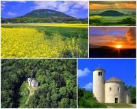 Jak se jmenuje hora na obrázku č.1, na jejímž vrcholu je románská rotunda? Z hory, která je uznávaným místem české mytologie, pochází i jeden ze základních kamenů Národního divadla v Praze. (náhled)