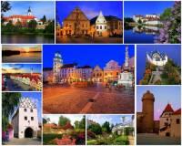 Ve kterém kraji se nacházejí hrad, zámky a města na fotografické koláži č.18? (náhled)