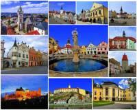 Jaký kraj charakterizují hrady, zámek a města na obrázkové koláži č.19? (náhled)