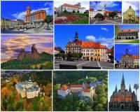 Města, zámky a hrad na fotografické koláži č.22 mohou turisté navštívit v kraji: (náhled)