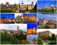 Který kraj charakterizují zámky a města na fotografii č.24?  (náhled)