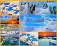 Unikátní přírodní výtvor na obrázku č.6 je jednou z největších turistických atrakcí na světě. Jedná se o svah pokrytý sněhově bílým travertinem, který vznikl jako usazenina z vytékajících minerálních pramenů bohatých na vápník stékajících po skále. Působivé bělostné terasy, kaskády se sněhově bílými vápencovými vodopády a jezírka s průzračnou vodou zde vznikaly v průběhu mnoha tisíc let a vznikají doposud, neboť jsou zdejší minerální prameny stále aktivní. Jak se oblast, ve které se přírodní skvost, jenž nemá ve světě obdoby a který byl zapsán na seznam přírodního a kulturního světového dědictví UNESCO jmenuje? (náhled)
