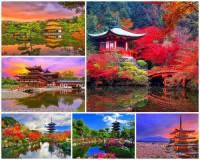 K nejkrásnějším místům světa patří i japonské zahrady, které na jaře hýří barvami rozkvetlých sakur a kvetoucích keřů a na podzim zbarveným listím. Oslnivá nádhera přírody se zde snoubí s krásou zahradních historických staveb. Turisticky nejatraktivnější zahrady se nacházejí poblíž historického města, které je také nejen japonským, ale i světovým klenotem, zapsaným od r. 1998 na seznamu světového kulturního a přírodního dědictví UNESCO. V minulosti bylo sídelním městem japonských císařů. Jak se jedno z nejkrásnějších japonských i světových měst v sousedství nádherných japonských zahrad na fotografii č.14 jmenuje? (náhled)