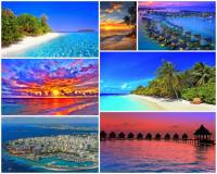 Jak se jmenuje turisticky atraktivní souostroví na fotografii č.2, které je tvořeno řetězcem 19 atolů a více než tisícem ostrovů a ostrůvků táhnoucích se ve vzdálenosti 500 km od břehů kontinentu severojižním směrem v délce cca 800 km až po rovník? Ostrovy jsou pokryté chlebovníkovými a palmovými háji. Suchozemský povrch ostrovů nepřesahuje výšku 2 metrů nad mořem a před vlnami otevřeného moře je chráněn bariérou korálových útesů, které obklopují ostrovy ze všech stran. Ostrovy jsou lemovány písčitými plážemi a průzračnými lagunami. (náhled)
