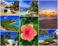 Jak se jmenuje souostroví na fotografii č.6 ležící poblíž rovníku? Souostroví, které je turisticky atraktivní destinací, tvoří asi sto nádherných ostrovů a atolů v modrozelených vodách moře, příjemné podnebí a dlouhé palmové pláže s bílým a zlatým pískem. Zdejší korálové útesy jsou vhodné k potápění a pozorování podmořského světa. Ostrovy se vyznačují i zachovalou přírodou. Roste zde 75 druhů bohatě kvetoucích rostlin, 15 druhů ptáků a 3 druhy savců. (náhled)