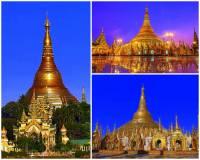 Jak se jmenuje jedna z nejznámějších a nejkrásnějších pagod na fotografii č.15, která je 105 metrů vysoká, celá je pokryta pravým zlatem a na vrcholu ozdobena 6000 diamanty a drahokamy? Je tak nejen architektonickým skvostem, ale i skutečným klenotem. (náhled)