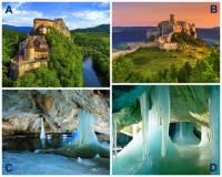 Na území SR se nachází (ke dni 1.10.2021) 8 památek zapsaných na Seznamu světového kulturního a přírodního dědictví UNESCO. Označte písmena, pod kterými jsou na fotografii č.3 památky UNESCO: (náhled)