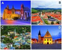 Mezi památky UNESCO se řadí i celá historická jádra některých slovenských měst. Označte písmena, pod kterými jsou na fotografii č.4 uvedena slovenská historická města zařazena na Seznam světového kulturního a přírodního dědictví UNESCO: (náhled)